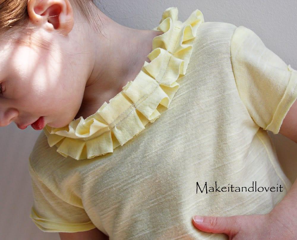 Girl's Shirt – Pleated/Ruffled Neckline