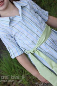 Re-purposing: Boy's Button-Up into Girl's Top with Tie