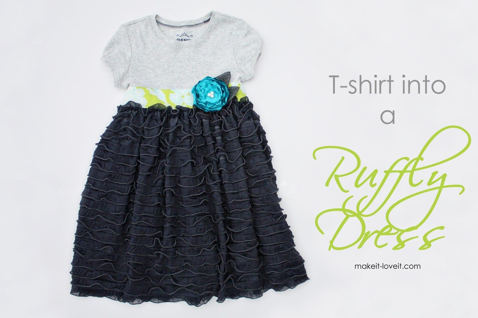 Re-Purposing: T-shirt into Ruffly Dress