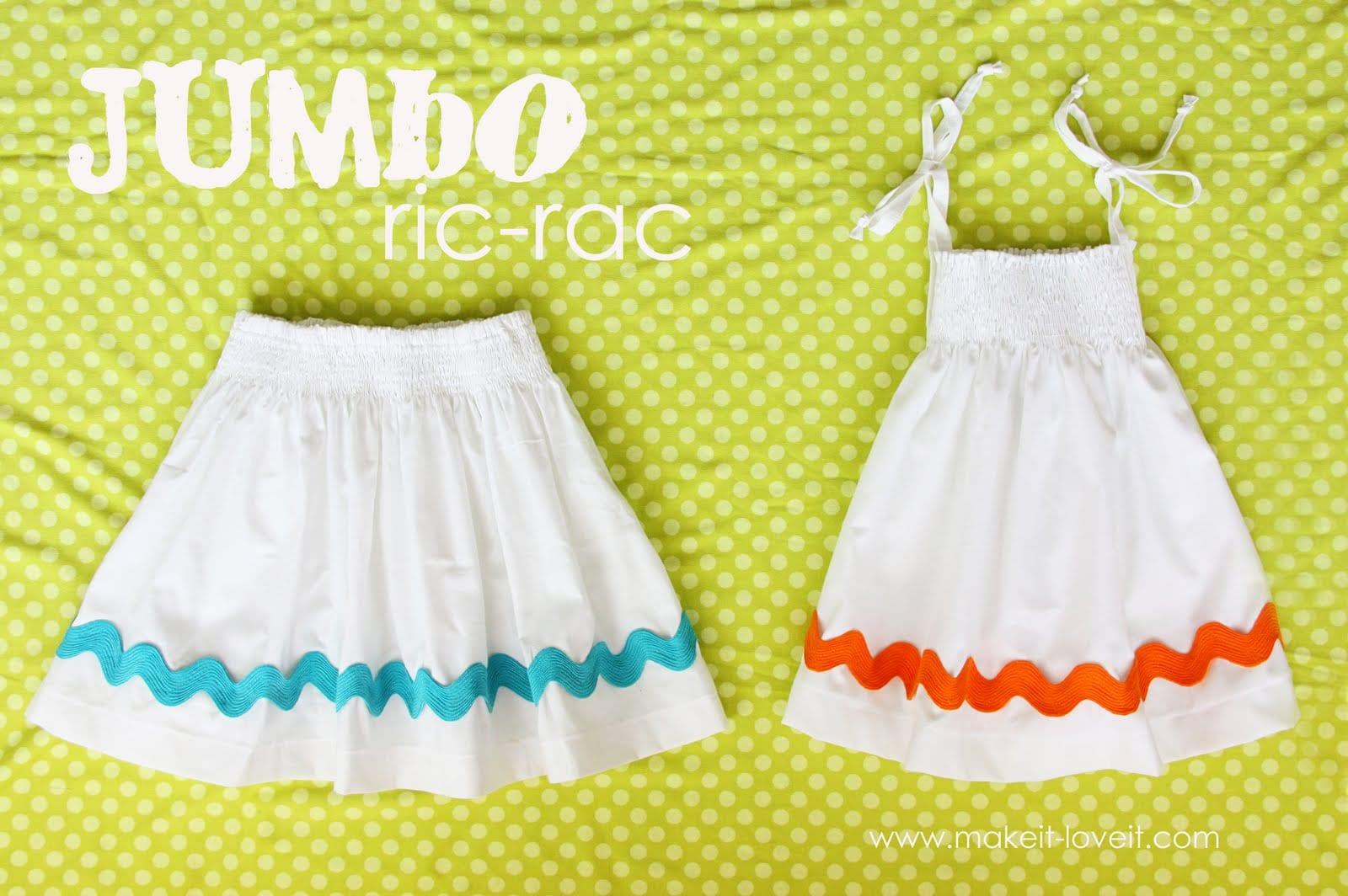 More spring dress/skirt ideas…….Jumbo Ric-Rac
