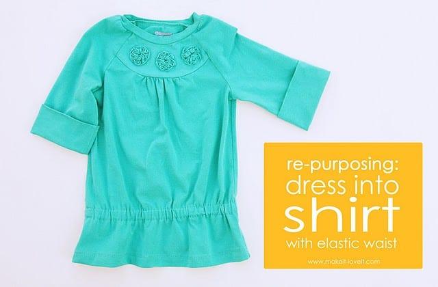 Re-purposing: Dress into Shirt {with elastic waist}