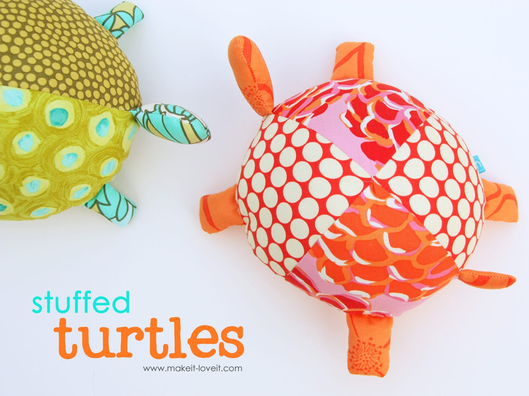 Stuffed Fabric Turtles (with pattern pieces)