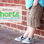 Re-purposing: Boy Pants into Shorts (with added Pocket)