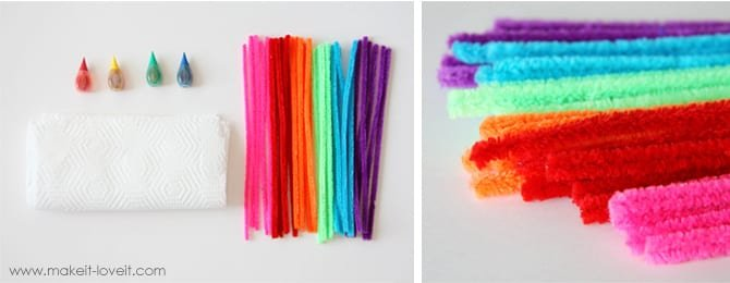 Supplies needed to make paper butterflies: plain white paper towels, food coloring, and pipe cleaners