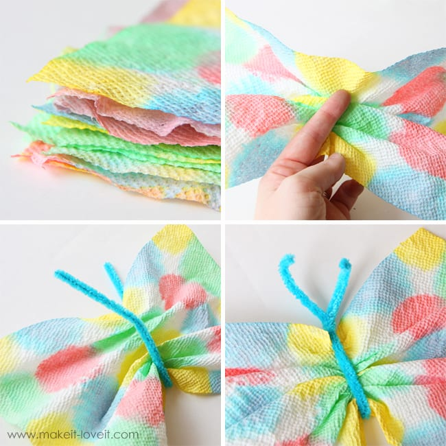 Gather or make an accordion fold along the center a dried dyed paper towel and secure with a pipe cleaner in the middle to make wings and antennas. Even out beings and curl antennas.