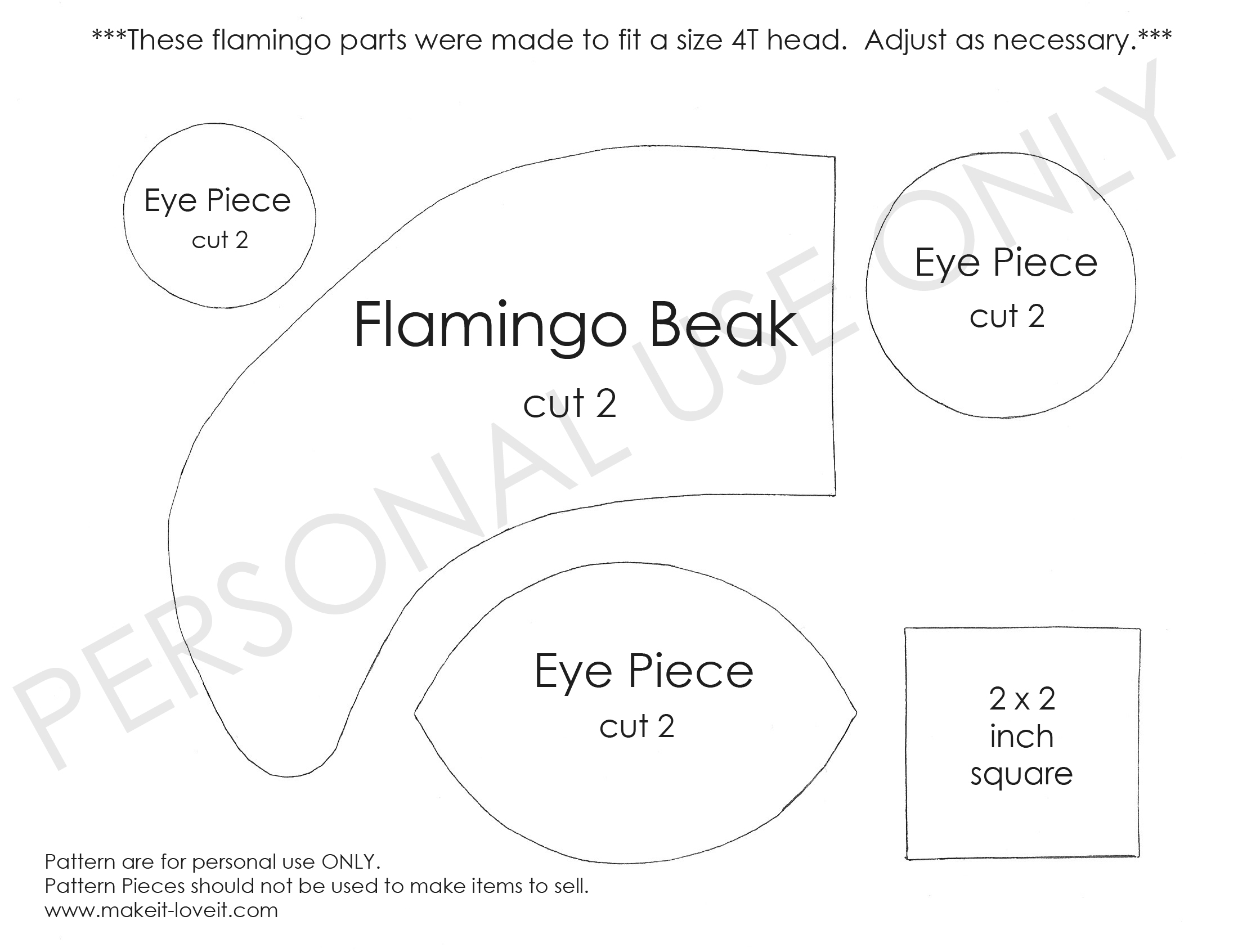 Free pattern pieces make it and love it for Flamingo beak template