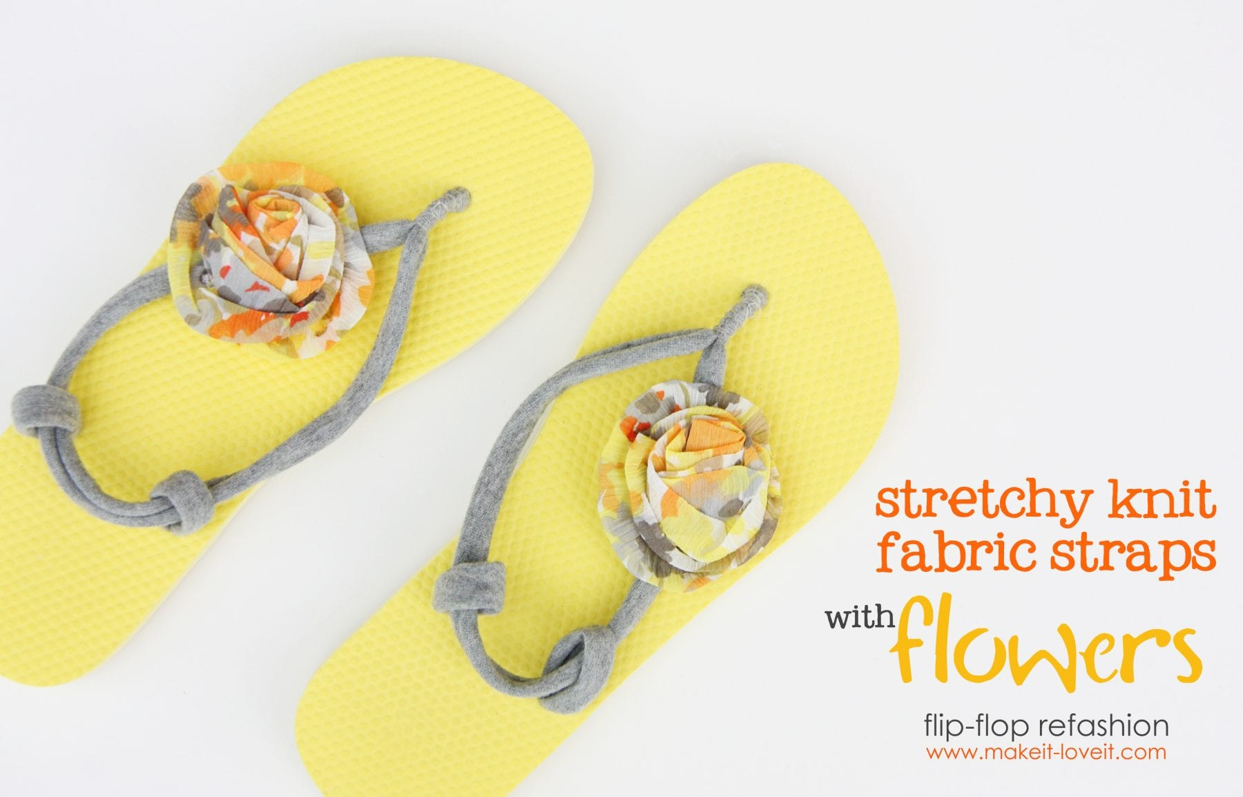 Flip-Flop Refashion: Part 4 (Stretchy Knit Straps with Flowers)