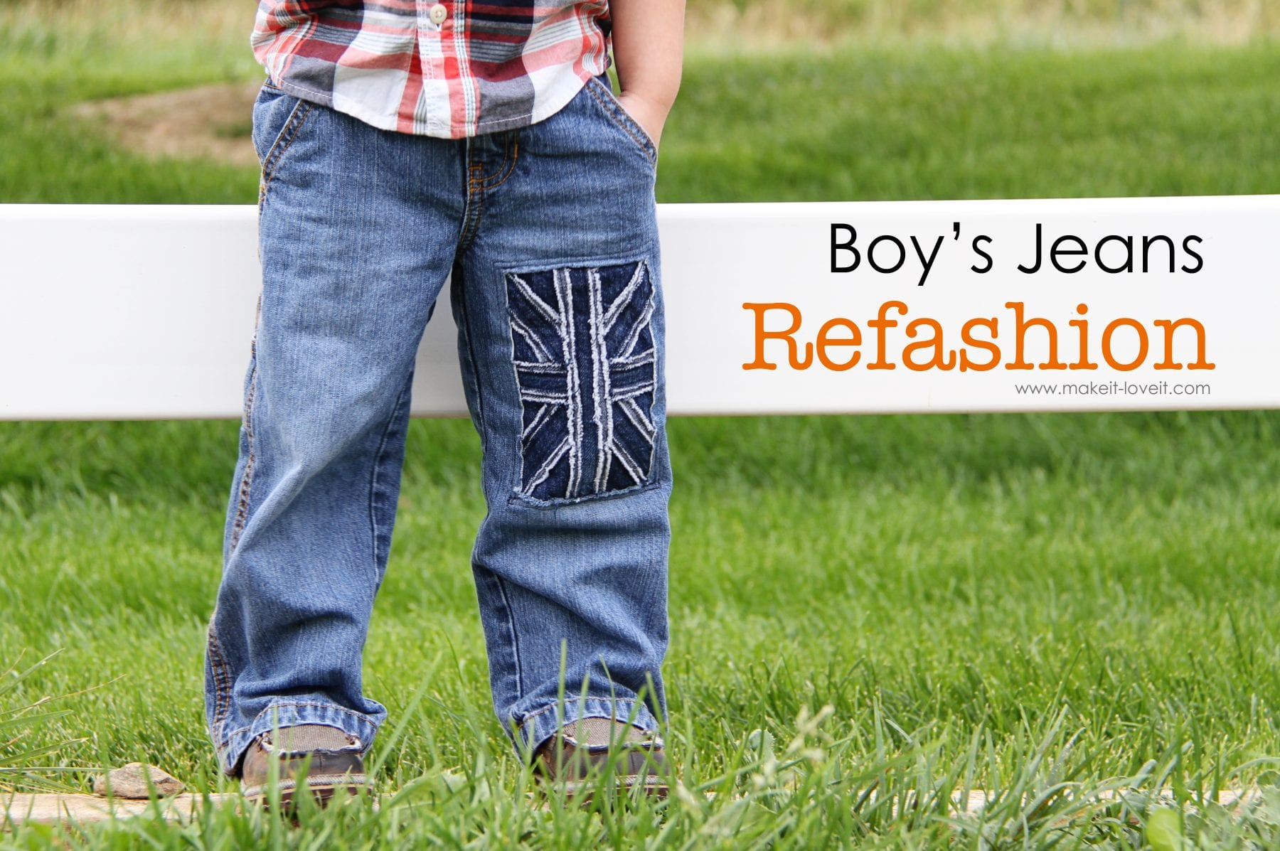 Little Boy Jeans: Refashion (with UK flag)