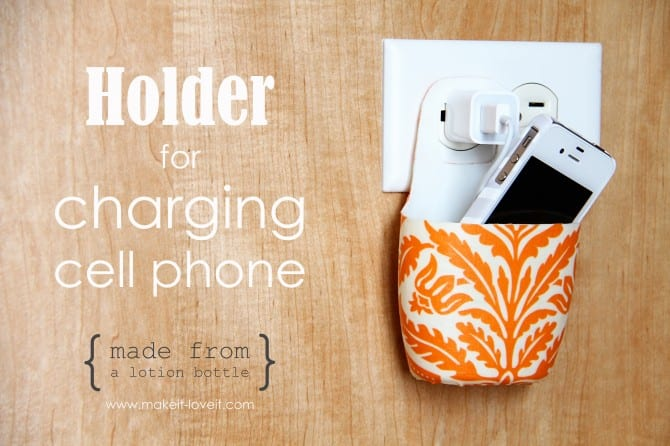 IMG 12621 670x446 Holder for Charging Cell Phone (made from lotion bottle)