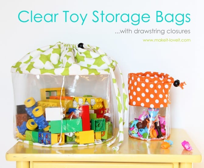 Clear Toy Storage Bags With Drawstring Closure Make It