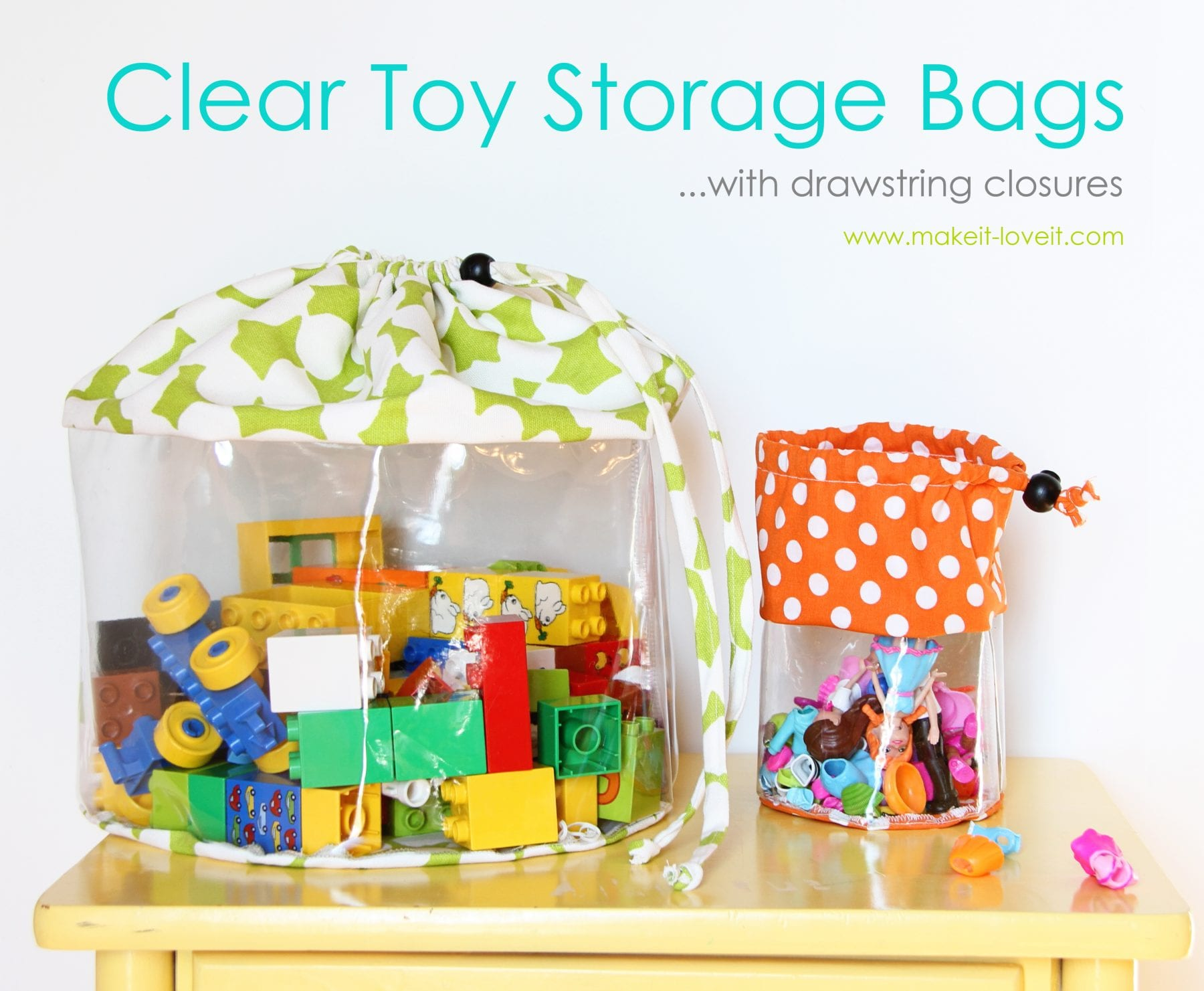 Clear Toy Storage Bags (with drawstring closure)