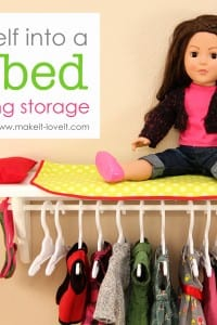 Turn a shelf into a Doll Bed with Clothing Storage (for 18 inch dolls)