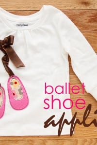 Ballet Shoe Applique on Shirt