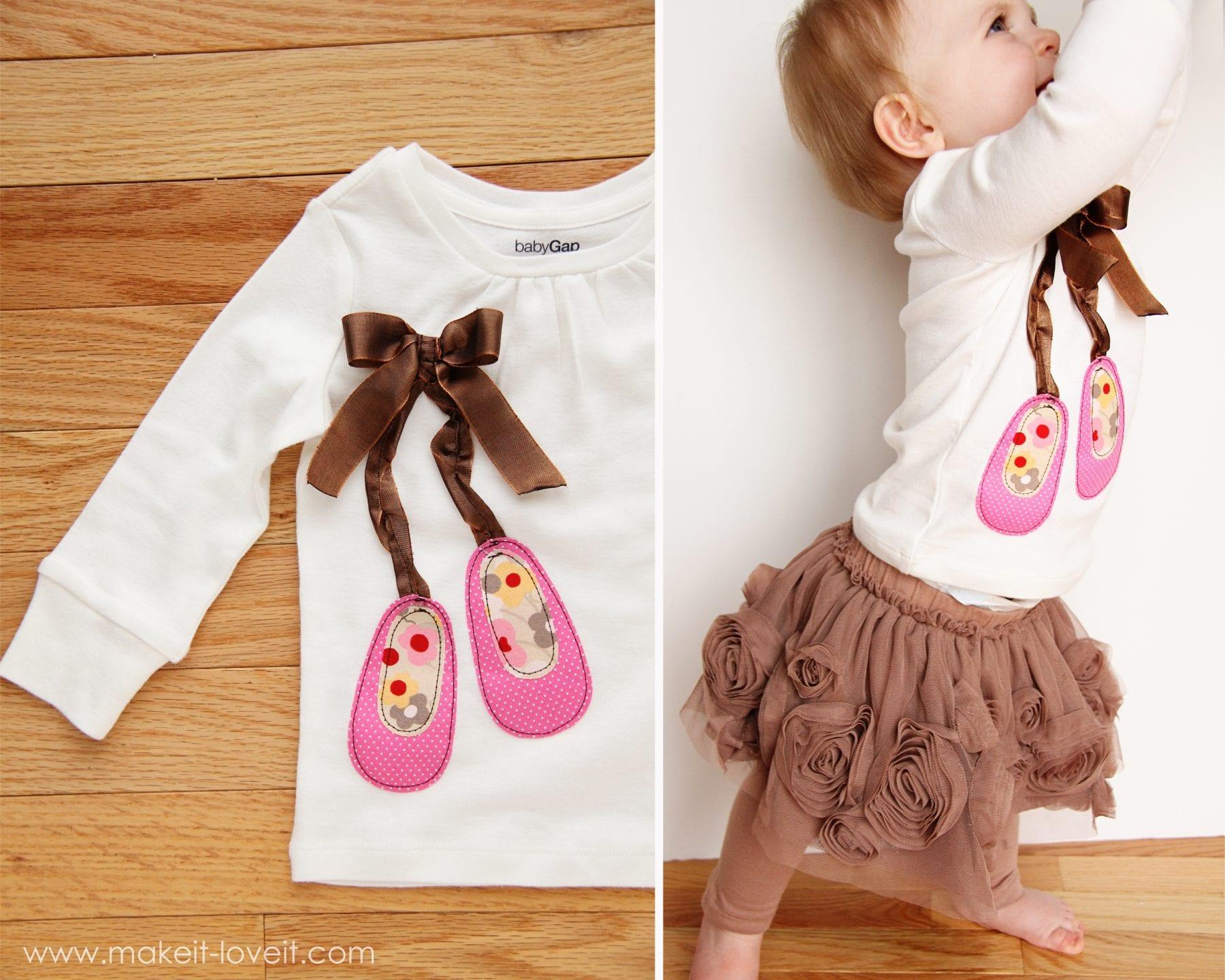 baby in ballet shirt