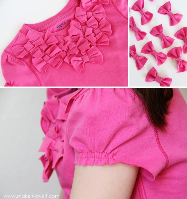 Turn long sleeves to short with added bow front make for How to cut sleeves off a shirt
