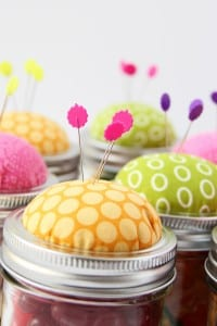Pin Cushion Jars (fill with buttons, notions........or candy!!)