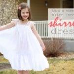 Re-purposing: Women's Skirt into a Girl's Shirred Dress