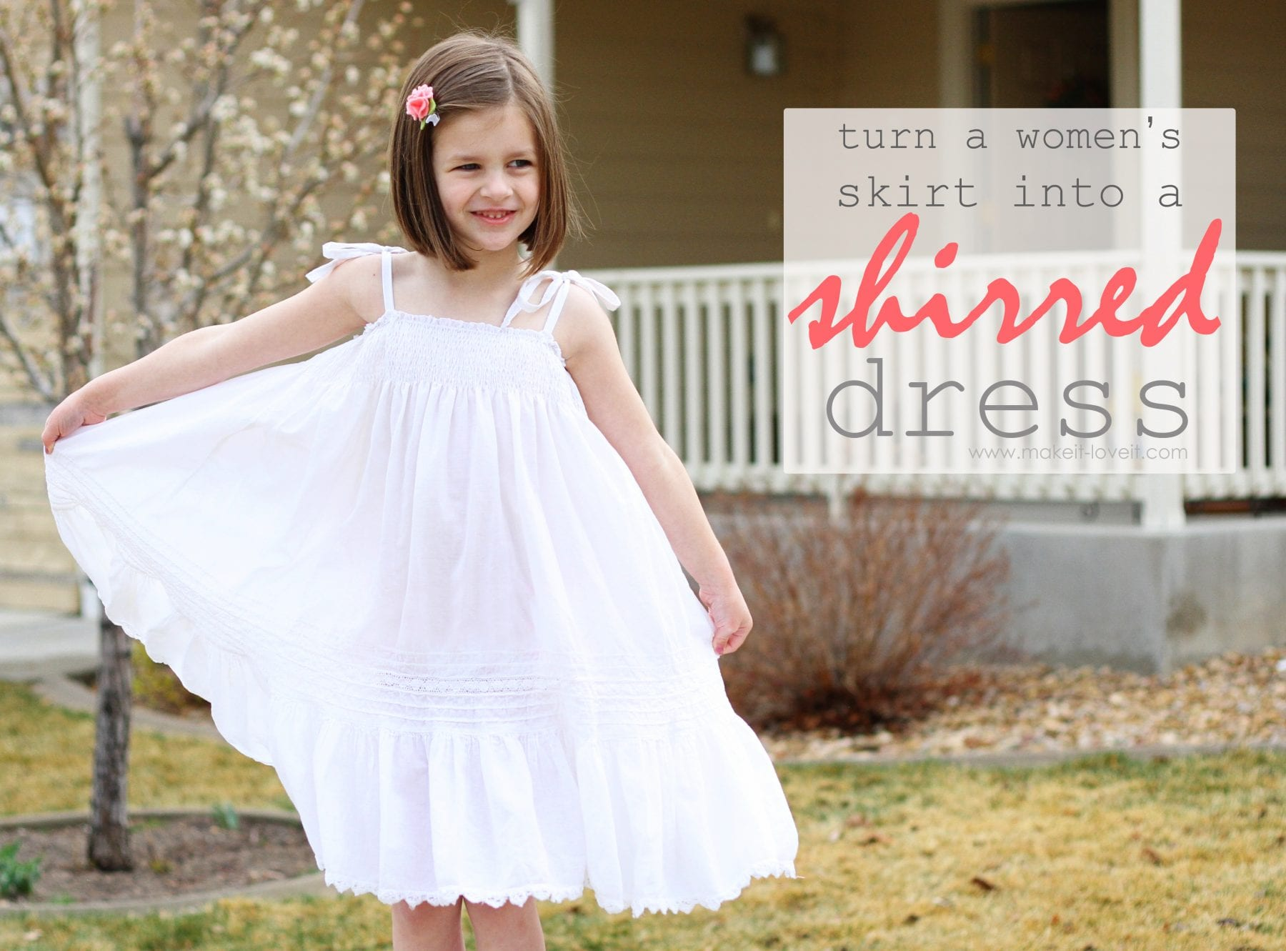 Re-purposing: Women's Skirt into a Girl's Shirred Dress