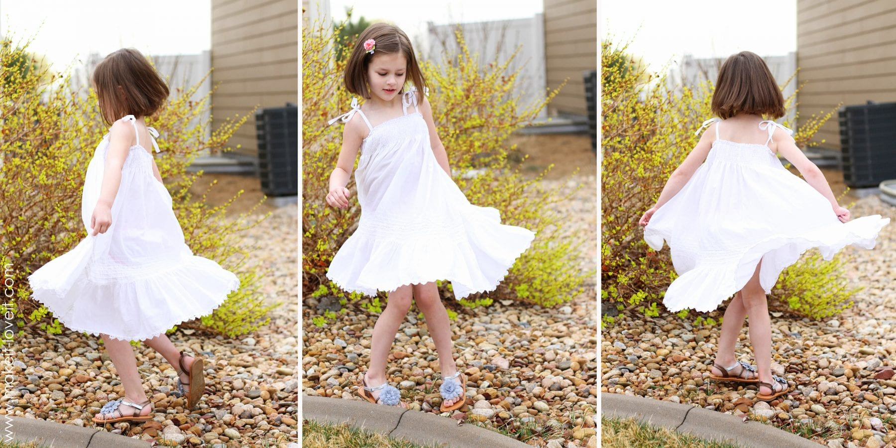 spinning shirred dress