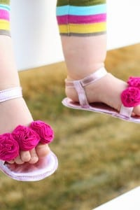 Baby Girl Flower Sandals: a Simpler Version (made with re-purposed faux leather)