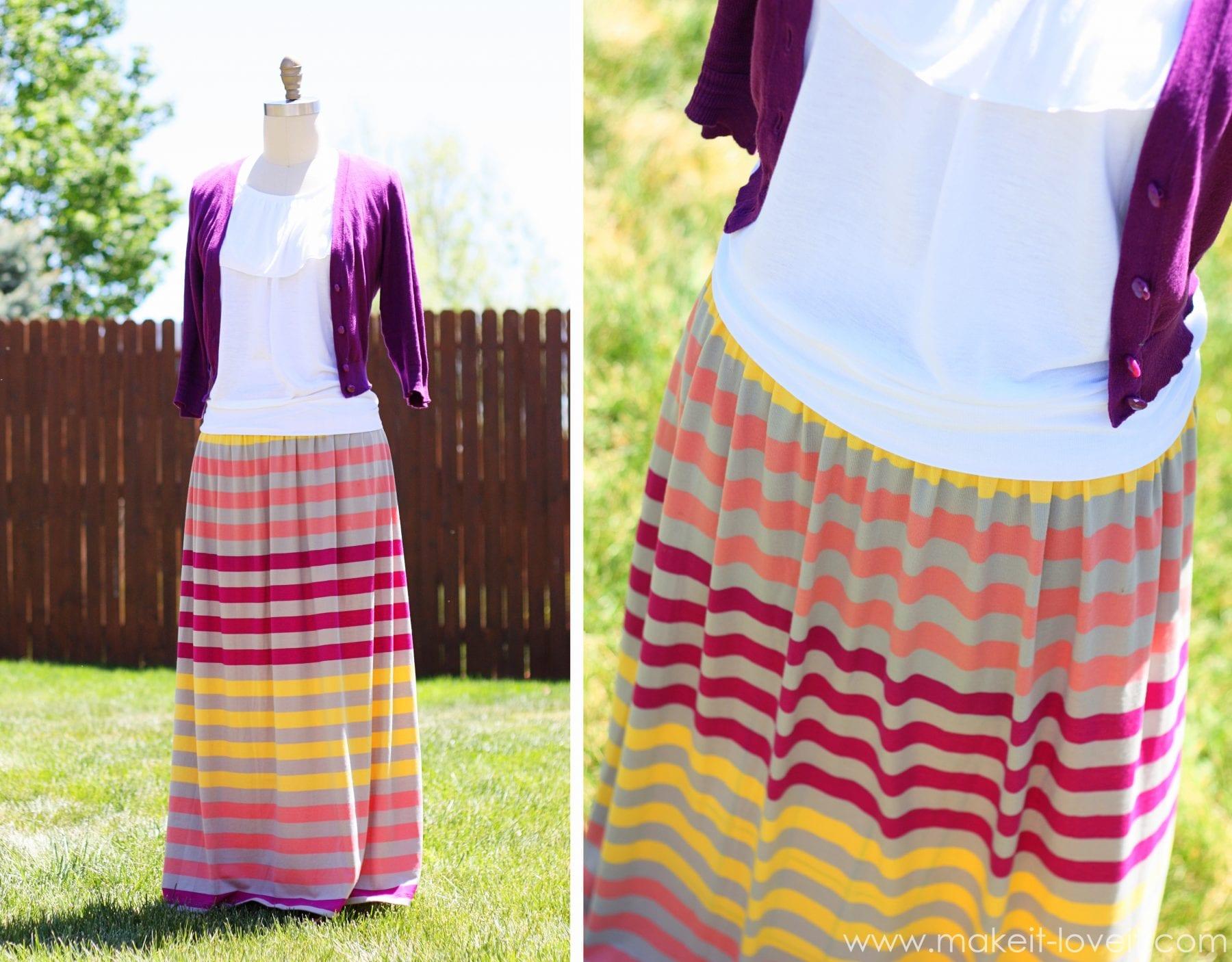 turn an ill fitting maxi dress into a maxi skirt