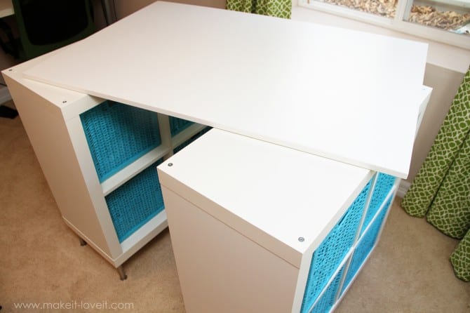 Make A Counter Height Craft Table from 2 Shelves
