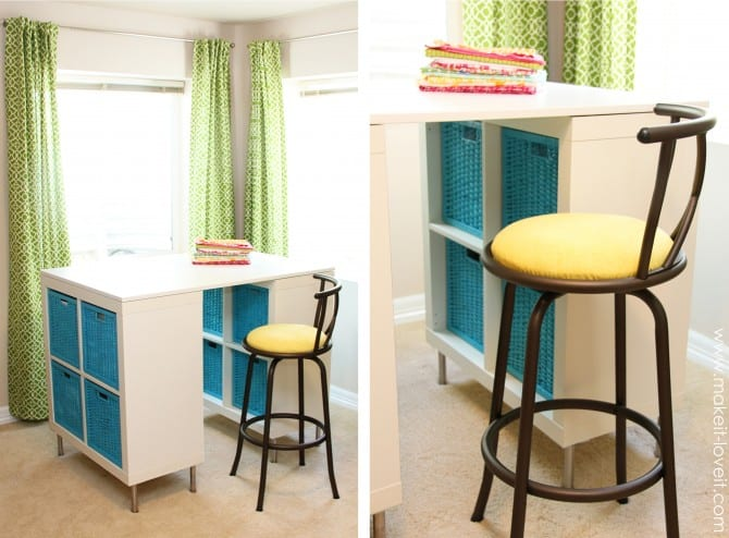 Counter Height Youth Chair : Make a counter height Craft Table (from 2 shelves, a table top, and 8 ...