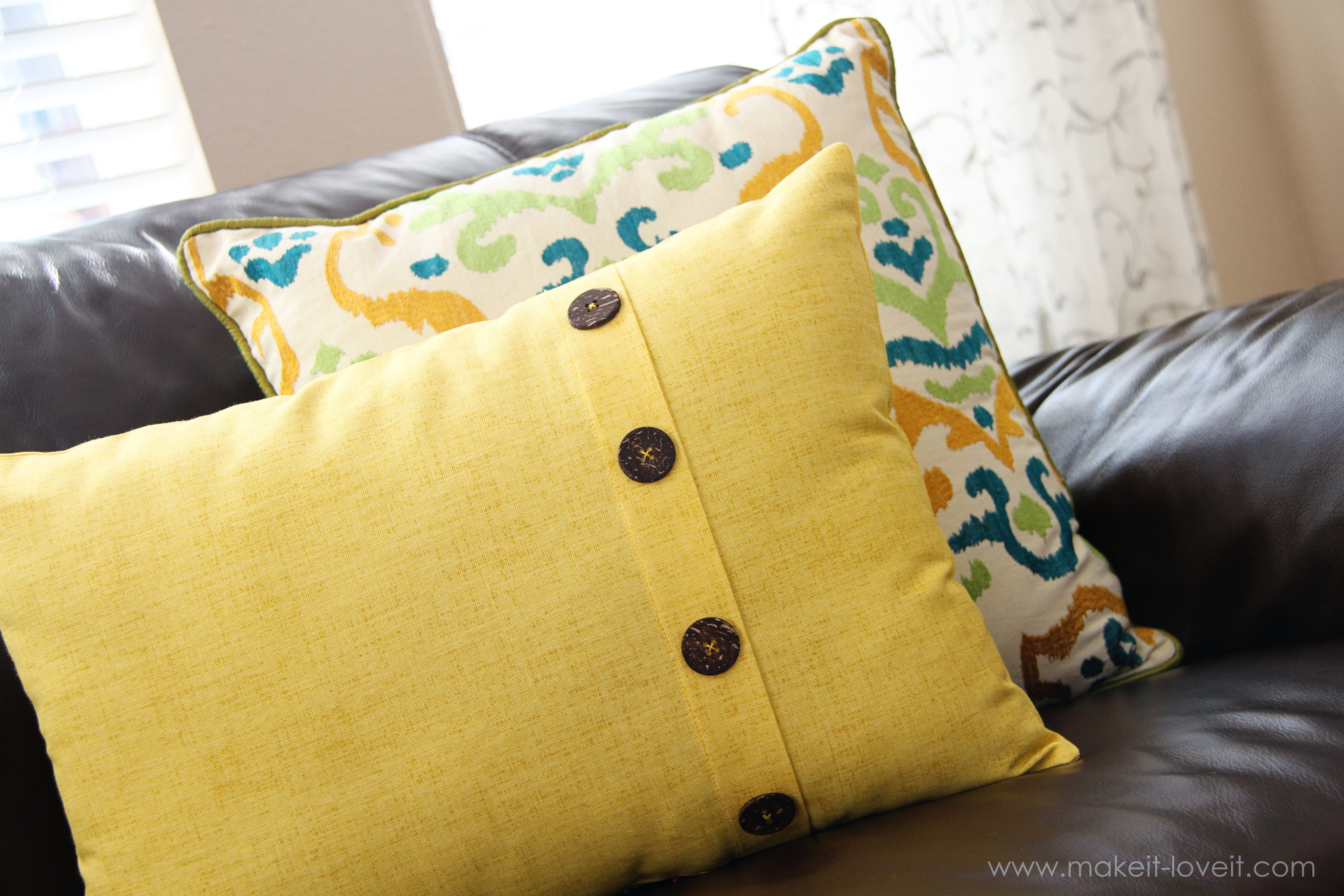 Note: After adding the stitches or buttons, you can't remove the cushion inserts unless you re-do the tufting after cleaning the cushion covers. This is the loveseat with plain back cushions.