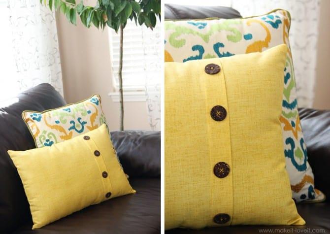 Fold Over Button Pillow home decor