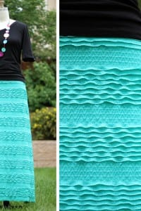 "Long A-Line Skirt; made with ""Ruffles and Ridges"" fabric."