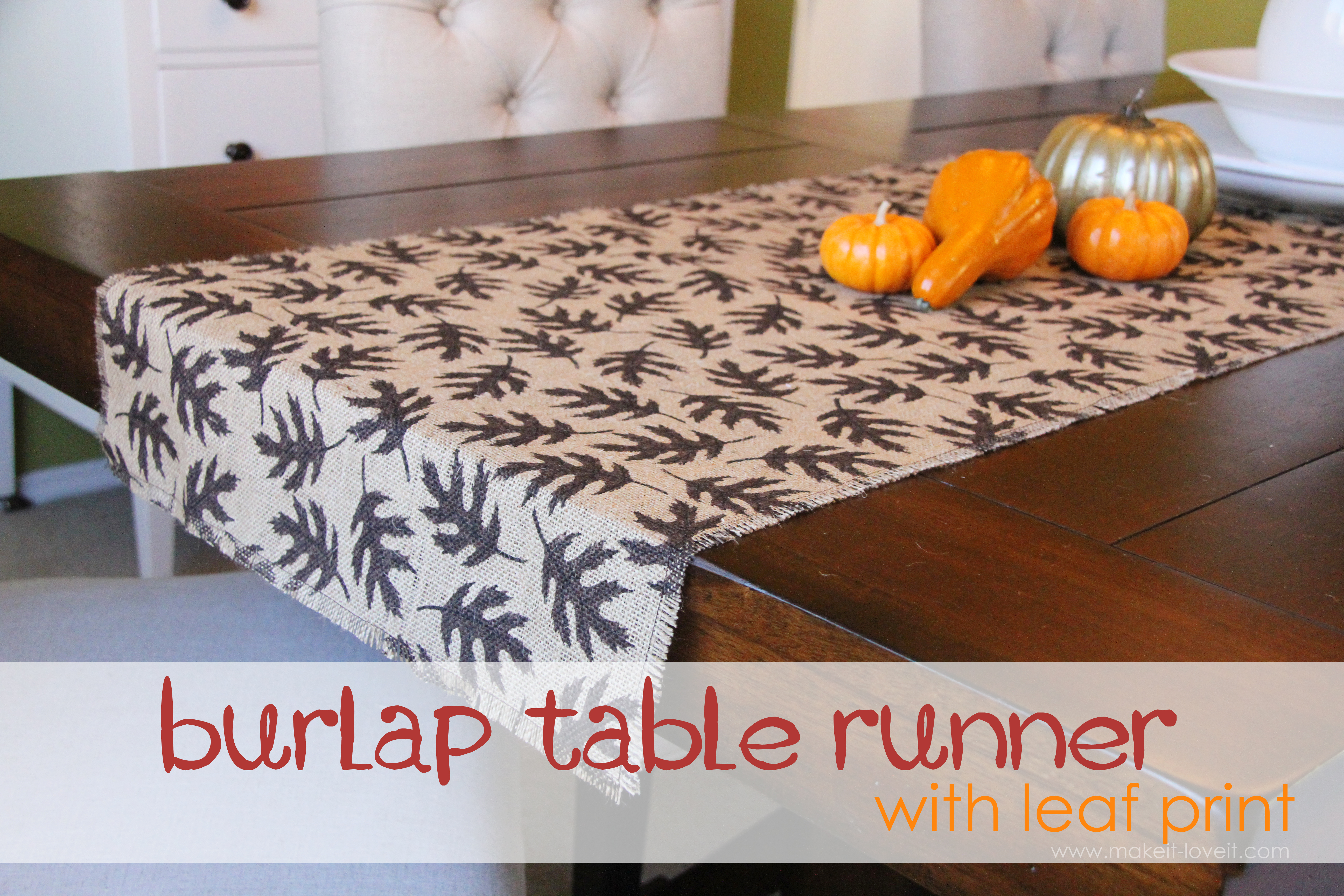 Fall Decor Burlap Table Runner with Leaf Prints Sew or No Sew