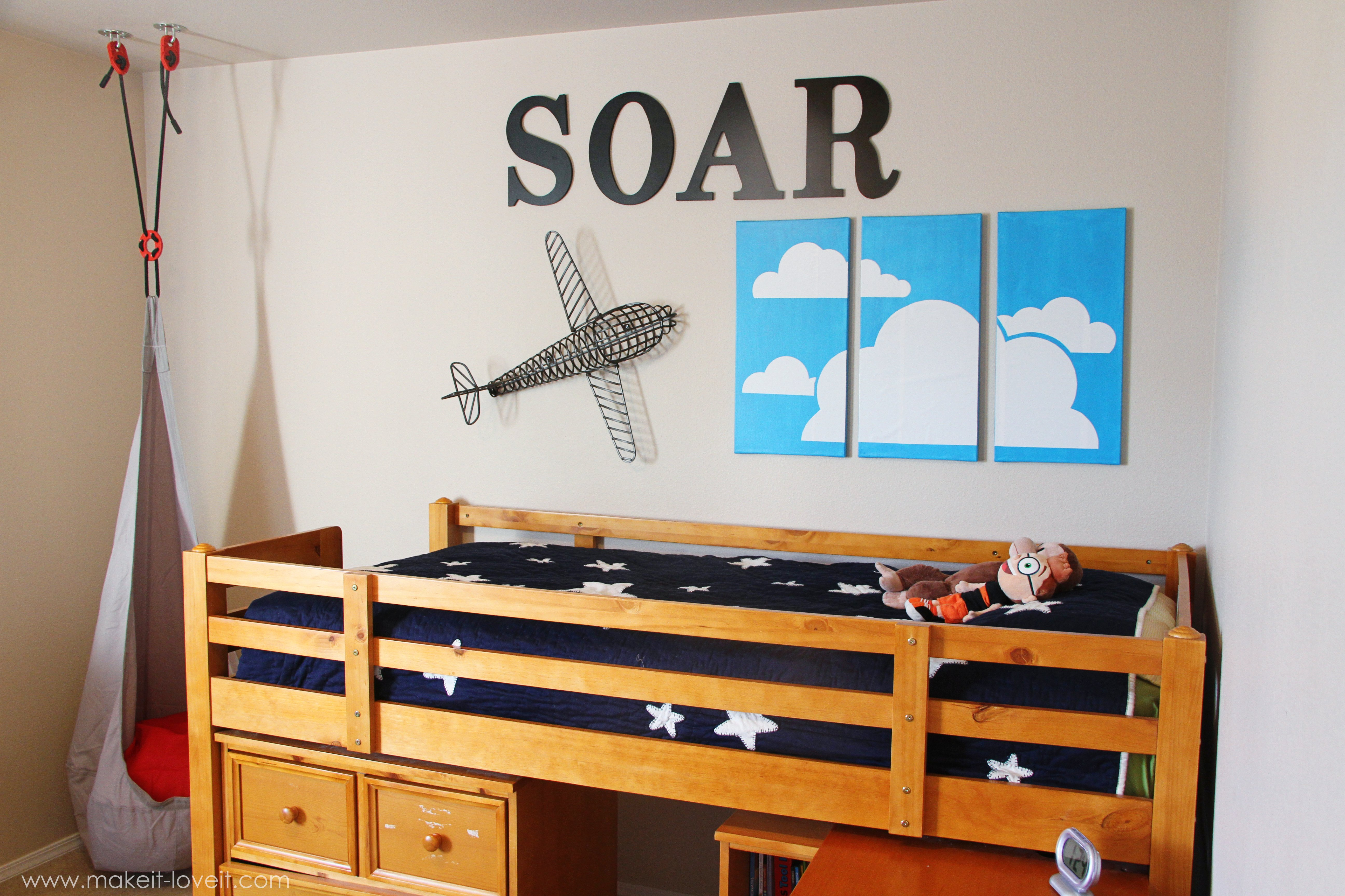 Vinyl Clouds on Painted Canvas (boys\' room wall decor) | Make It ...