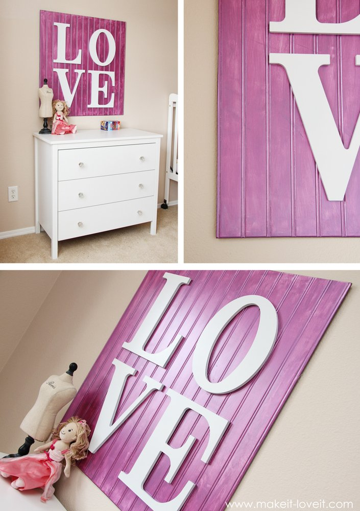 wall decor wooden love sign make it and love it. Black Bedroom Furniture Sets. Home Design Ideas
