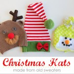Snowman/Reindeer/Elf Christmas Hats.....made from old sweaters