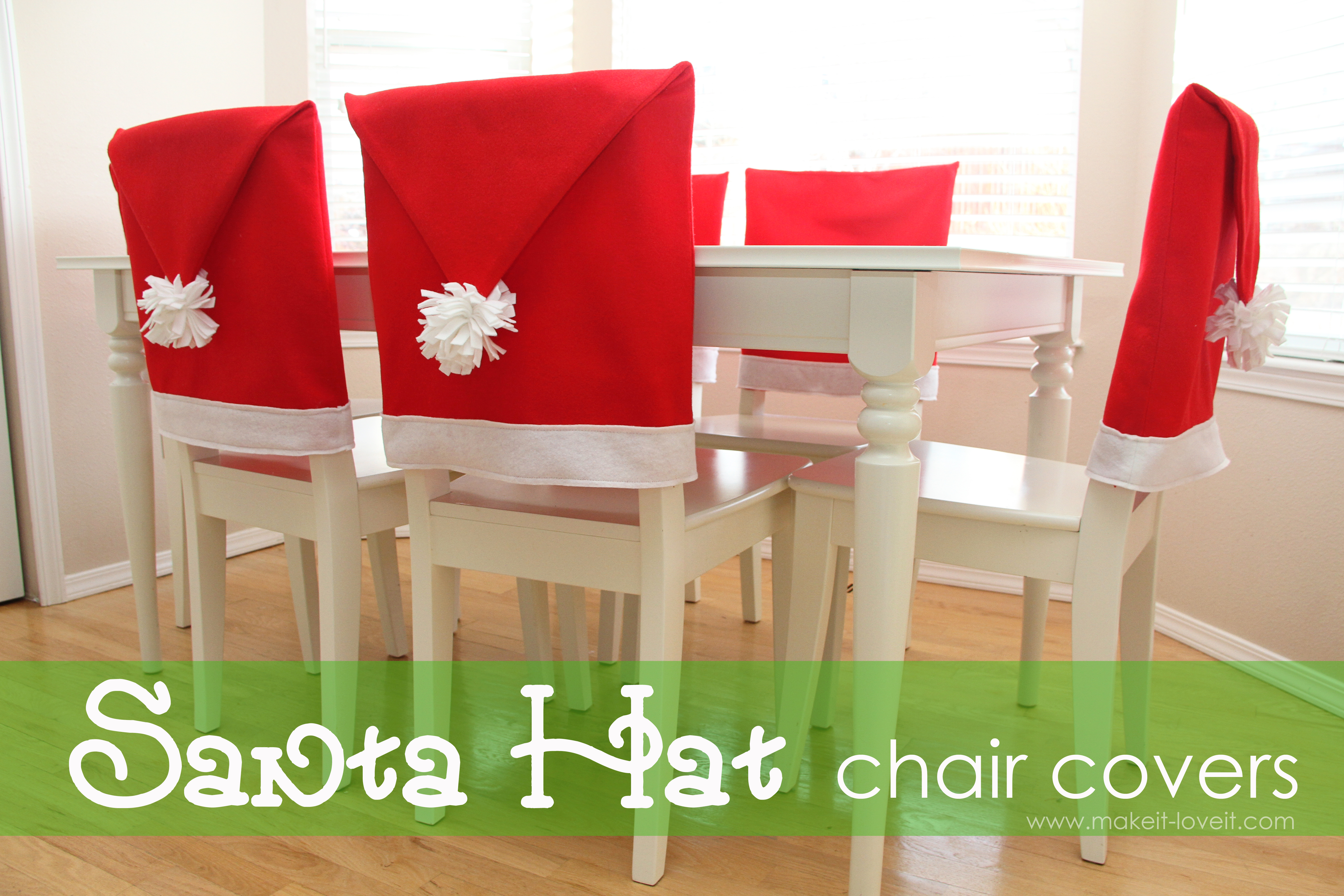 Santa Hat Chair Covers a serious Bah Humbug repellent