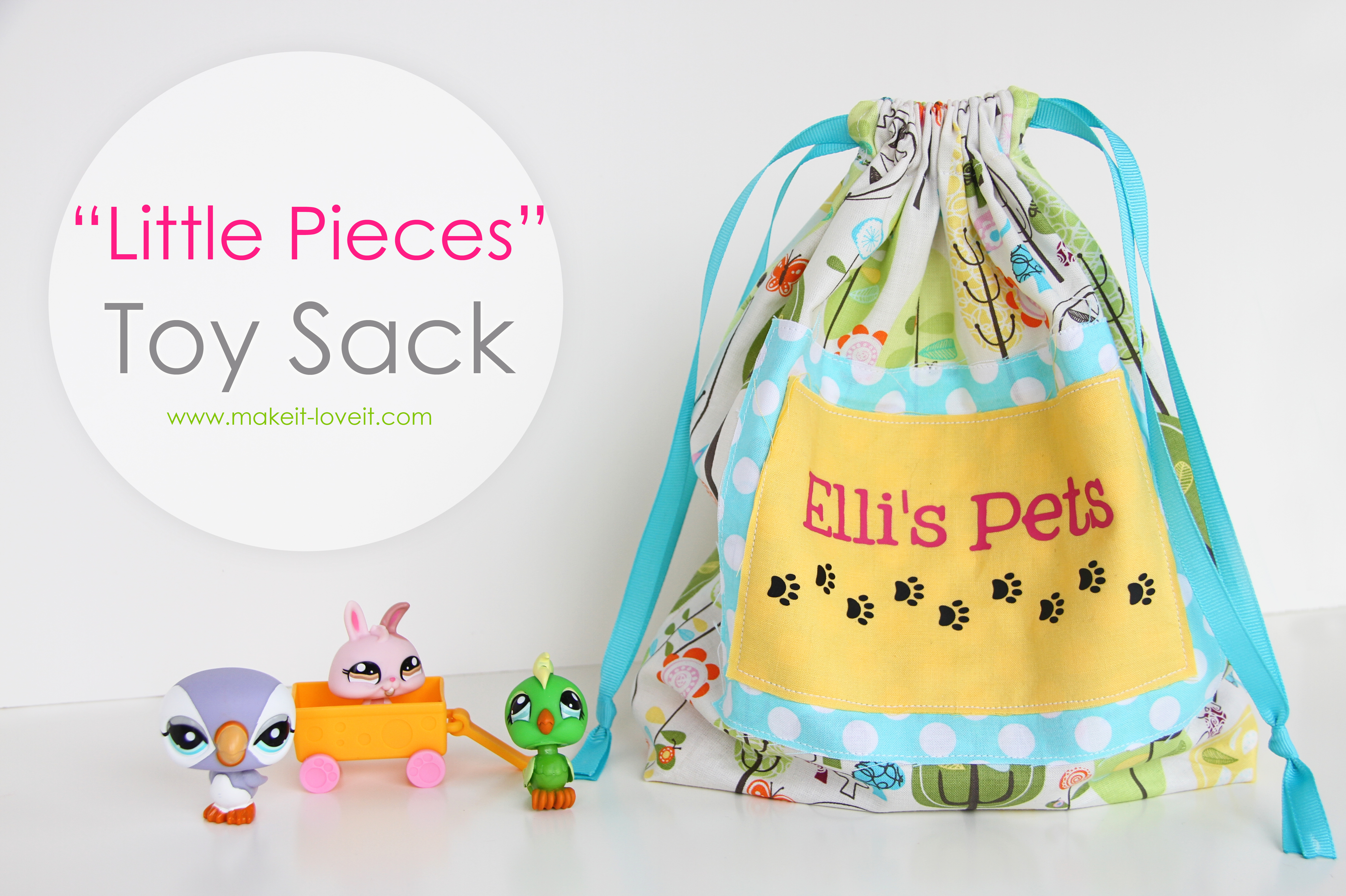 """""""Little Pieces"""" Toy Sack…..a great place to store all those teeny pieces!"""