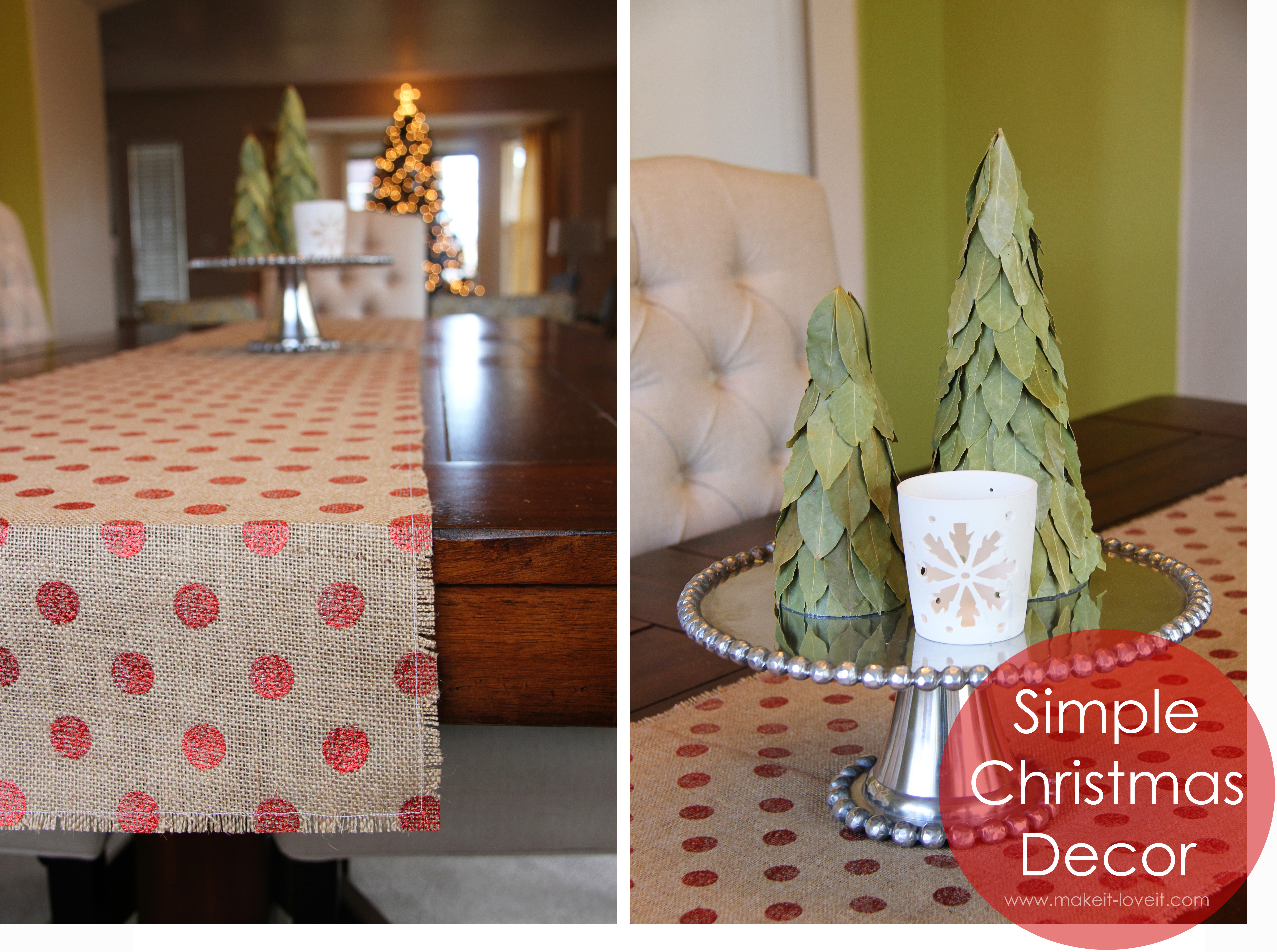 simple christmas decor burlap table runner bay leaf