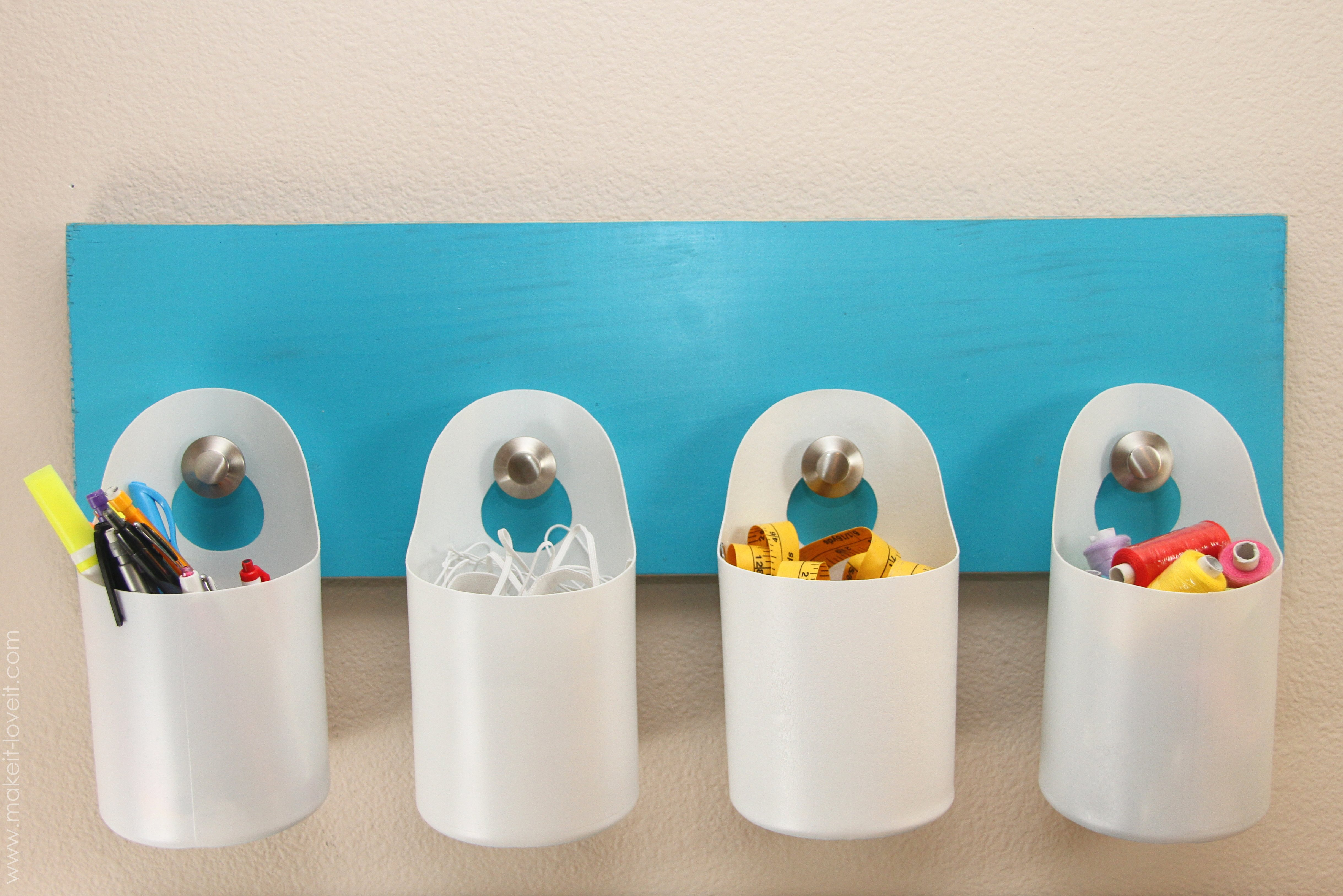 Hanging storage bins made from recycled containers for Plastic bottle storage