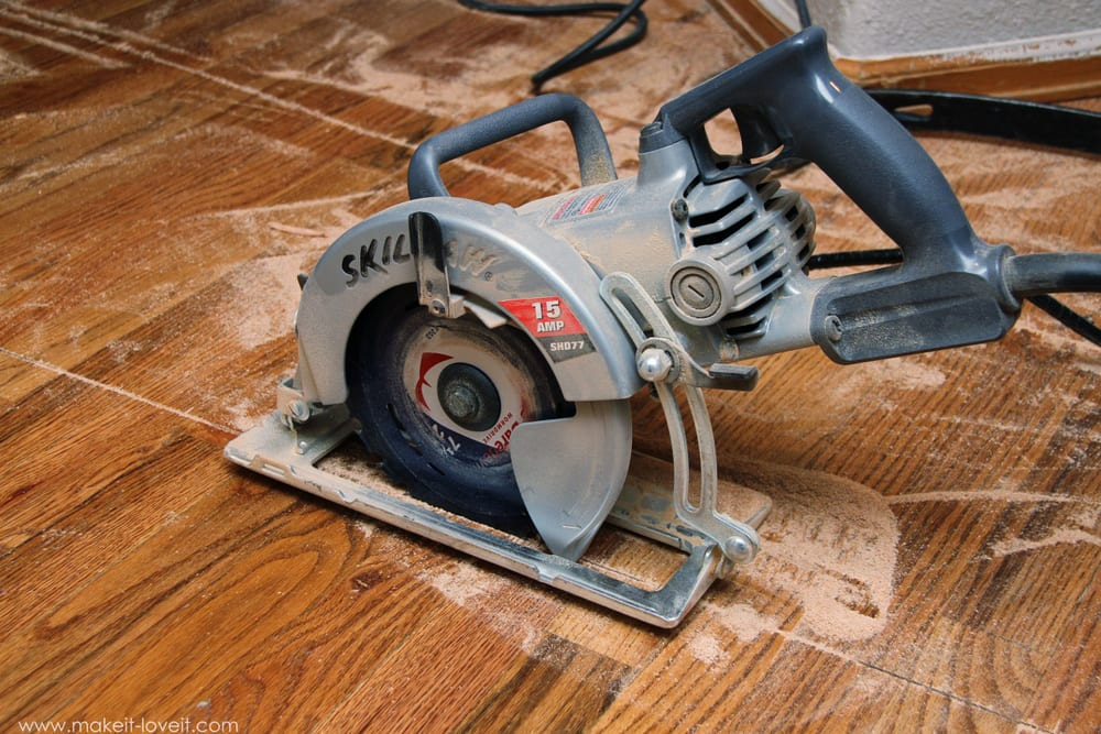 IMPORTANT: Be sure your saw blade is set to the thickness of your hardwood  floors, so that you're not cutting through your sub-floor. - Home Improvement: How To REMOVE Hardwood Floors Make It And Love It