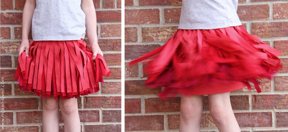 ombre fringe skirt