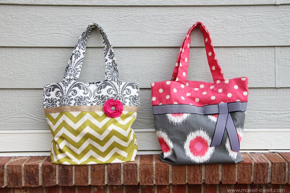 Two-Tone Fabric Totes (2 variations)