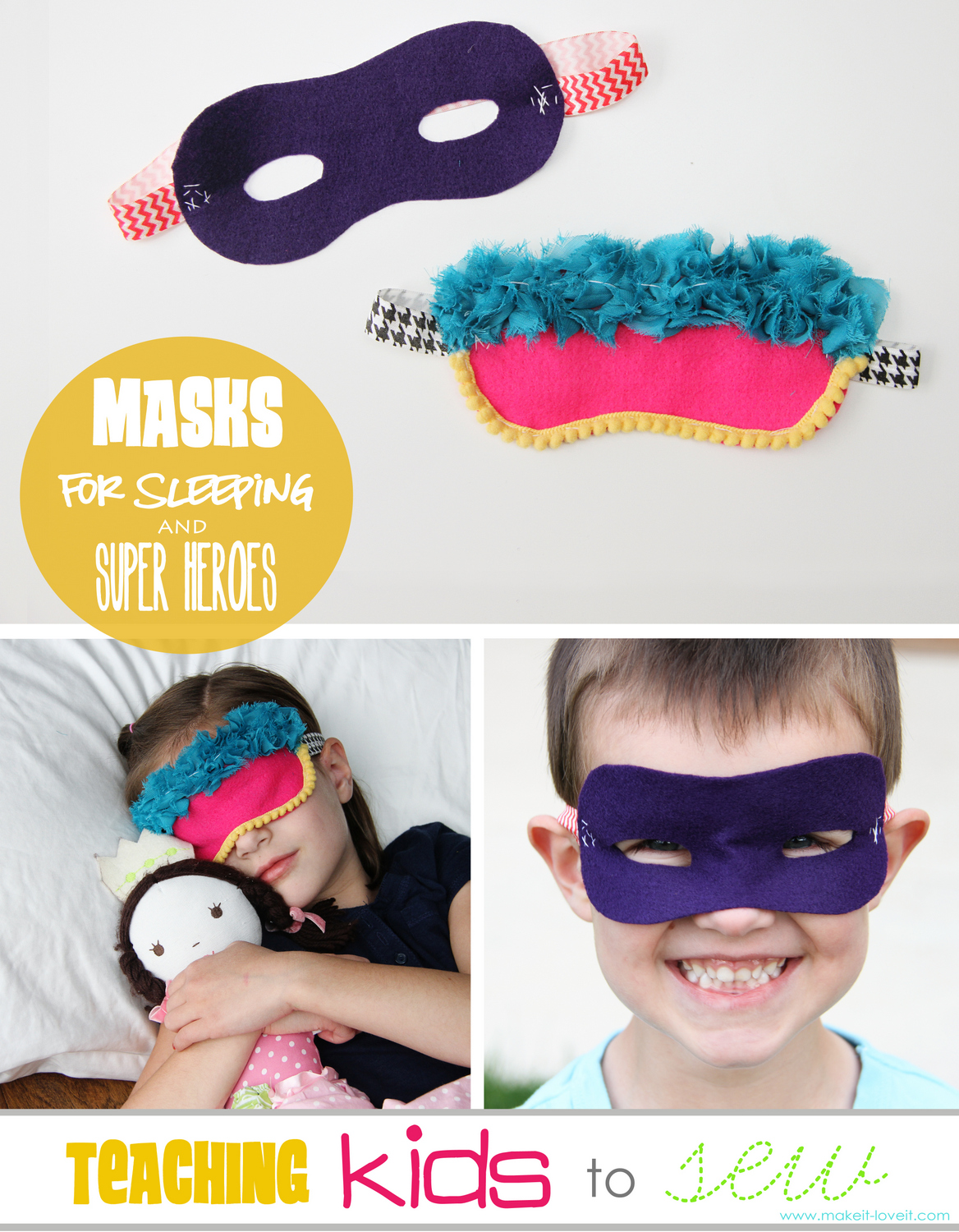 Teaching Kids to Sew, Part 3: Sleeping Masks & Super Hero Masks