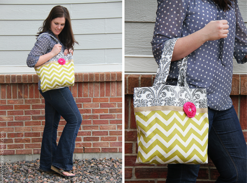 two tone fabric tote
