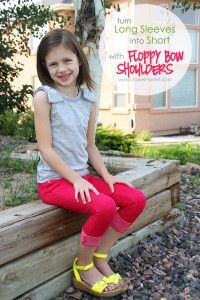 Re-purposing: Long Sleeve Shirt into Short, with Floppy Bow Shoulders