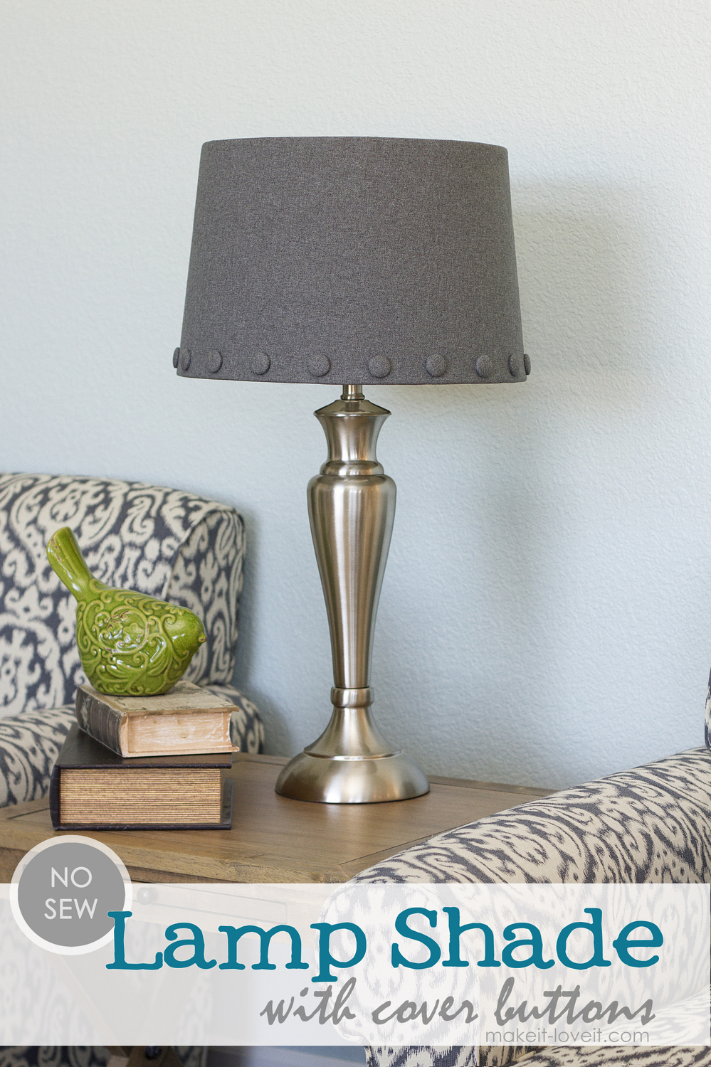 No Sew: Lamp Shade with Cover Buttons