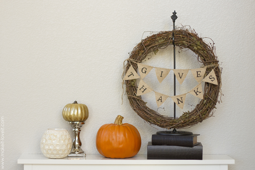 Thanksgiving Wreath…with Burlap Bunting