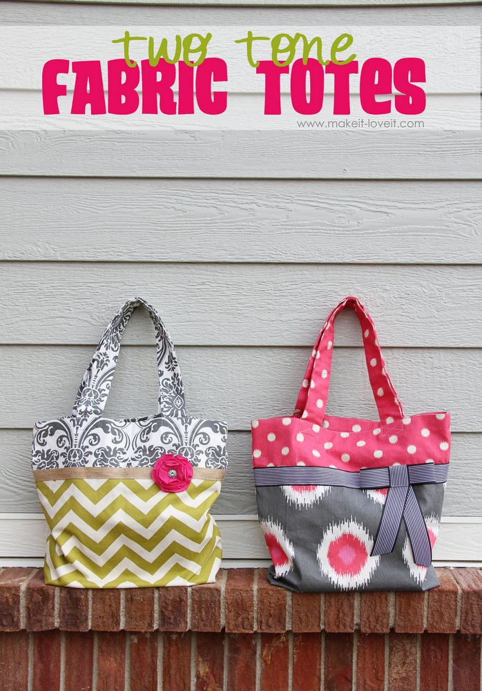 15 two tone fabric tote
