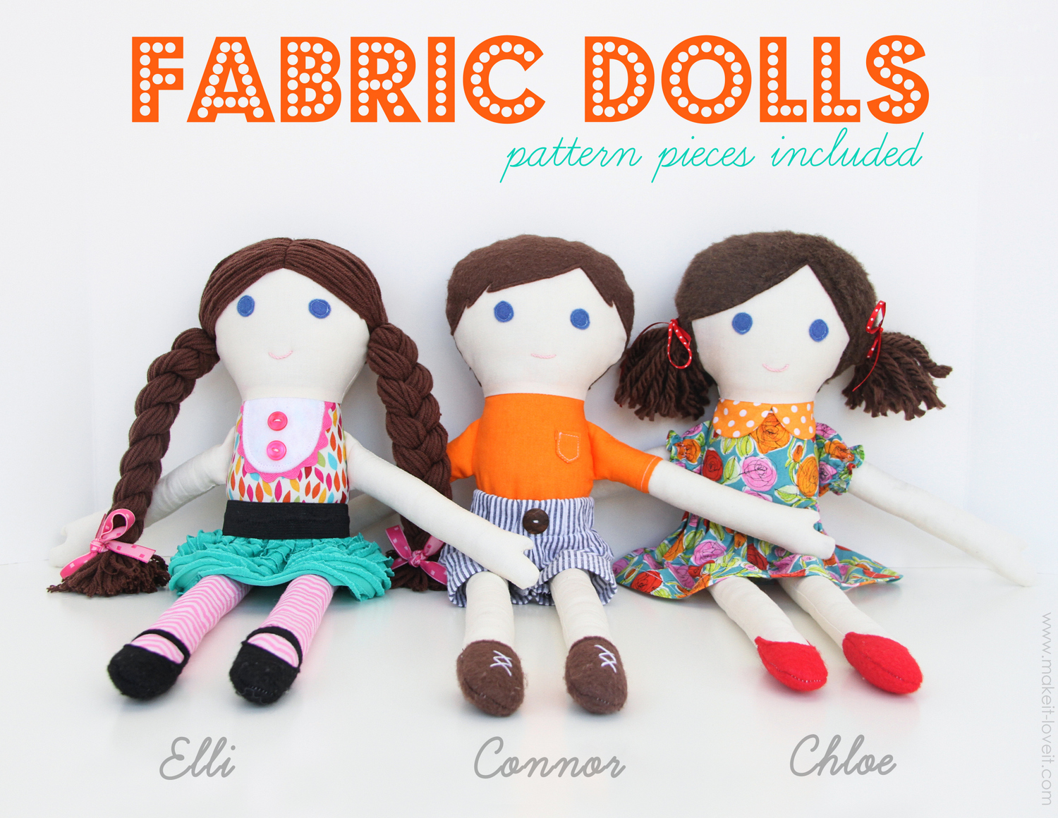 2 diy fabric dolls