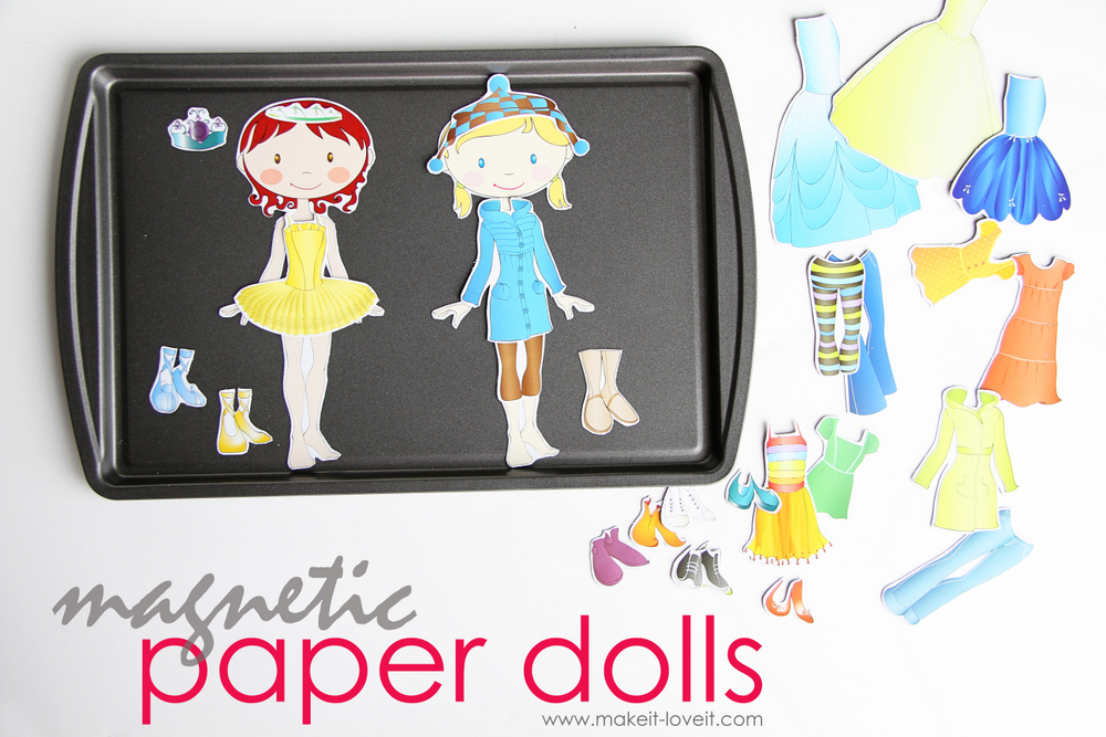 6 diy magnetic paper dolls