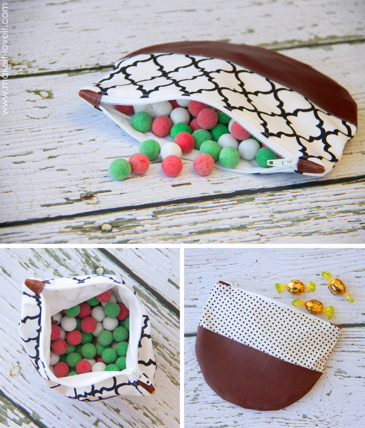 rounded zipper pouch